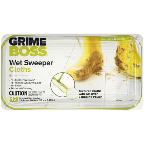 Grime Boss Scented Wet Sweeper Cloths, 12 ct
