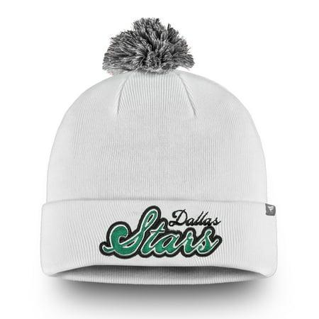 Dallas Stars Fanatics Branded Women's Team Dazzle Cuffed Knit Hat with Pom - White - (Dallas Stars Hat)