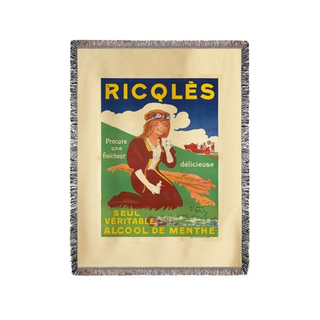 Ricqles Vintage Poster (artist: O'Galop) France c  1910 (60x80 Woven  Chenille Yarn Blanket)