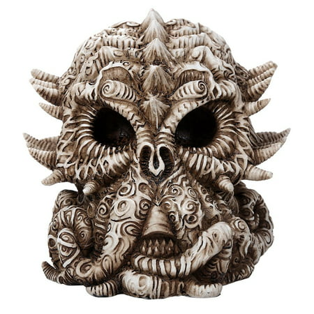 Cthulhu Skull Collectible Figurine Antique Skull Bone Finish 6 Inch L ()