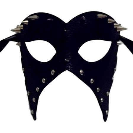 Black Leather Metal Spikes Masquerade Halloween Mardi Gras Mask](Slipknot Spike Mask)