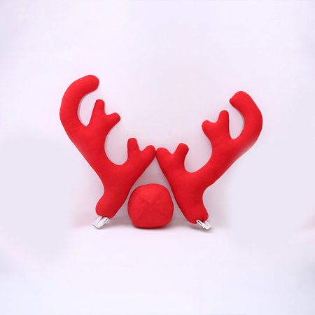 New Design Creative Christmas Auto Car Costume Decoration Full Set with 2 Antlers 1 Reindeer Nose 2 Mirrow Covers - Raindeer Car Kit