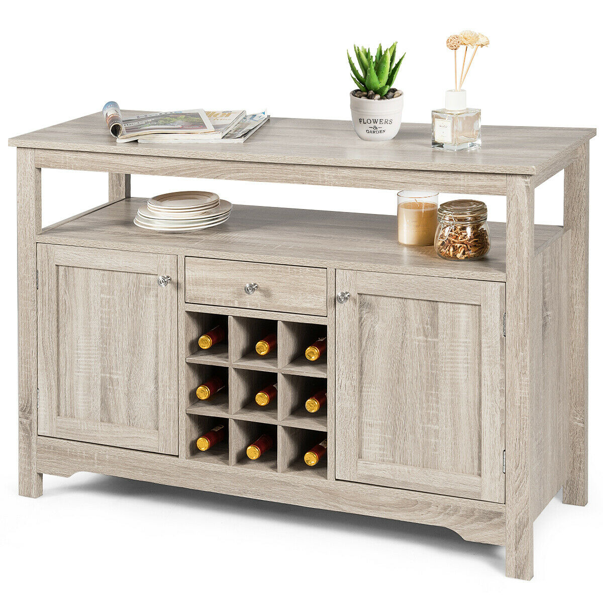 Picture of: Gymax Buffet Server Sideboard Wine Cabinet Console Table Grey Home Walmart Com Walmart Com