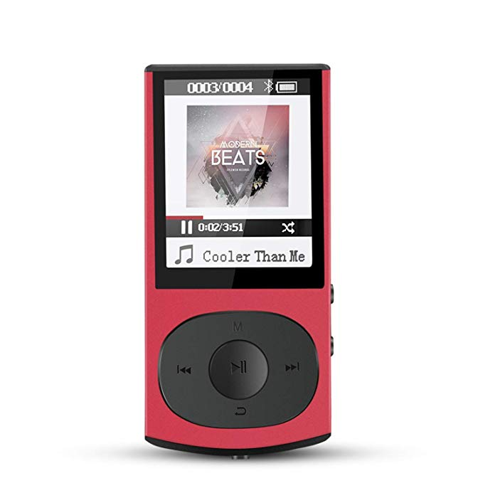 AGPTEK 8GB Bluetooth 4.0 MP3 Player, Metal Casing Lossless misic player Supports Playlist Shuffle FM Radio,C3 Red