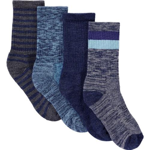 Kirkland Signature Womens Trail Socks, Pack of 4, One Size Aqua, Shoe Size 4-10