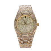 Men's 14k Gold Tone Iced Out Octagon Dial Watch with Simulated Diamonds