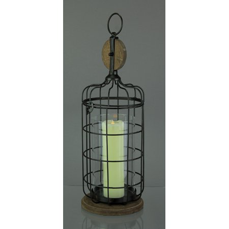 Metal & Wood Pulley Cage Glass Hurricane Lantern - image 1 of 3