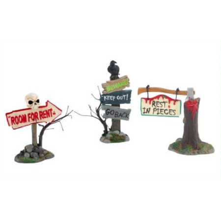 Department 56 Halloween Village Haunted Signs, Set of 3-2012 for $<!---->