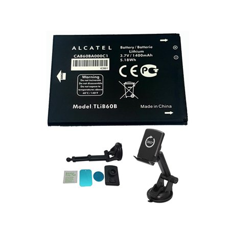 Original CAB60BA000C1 Battery for Alcatel One Touch Evolve / Shockwave with Alcatel CBA3000AG0C1 100% OEM with Magnetic Suction Cup Car Mount - in Non-Retail