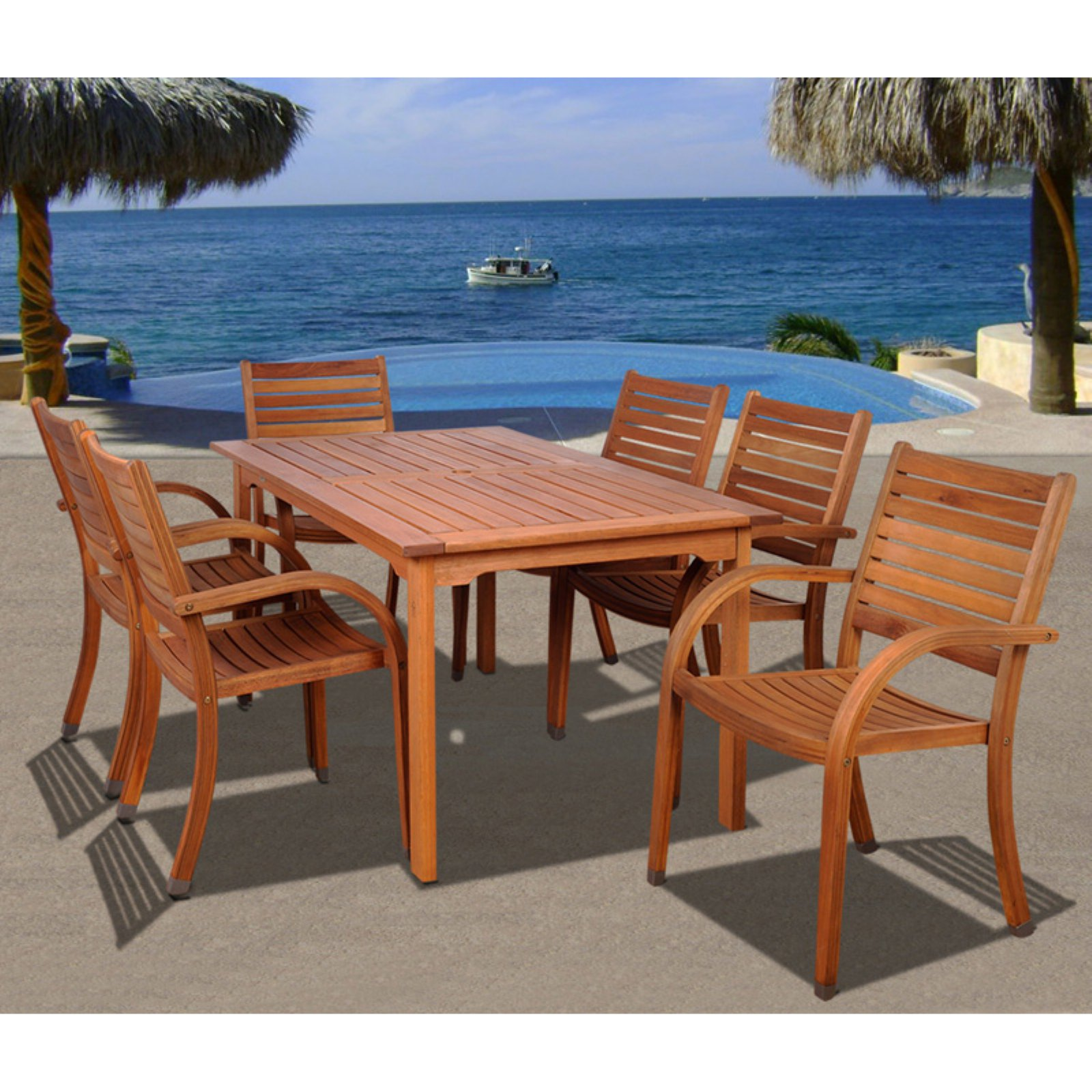 Arizona 7-Piece Eucalyptus Rectangular Patio Dining Set