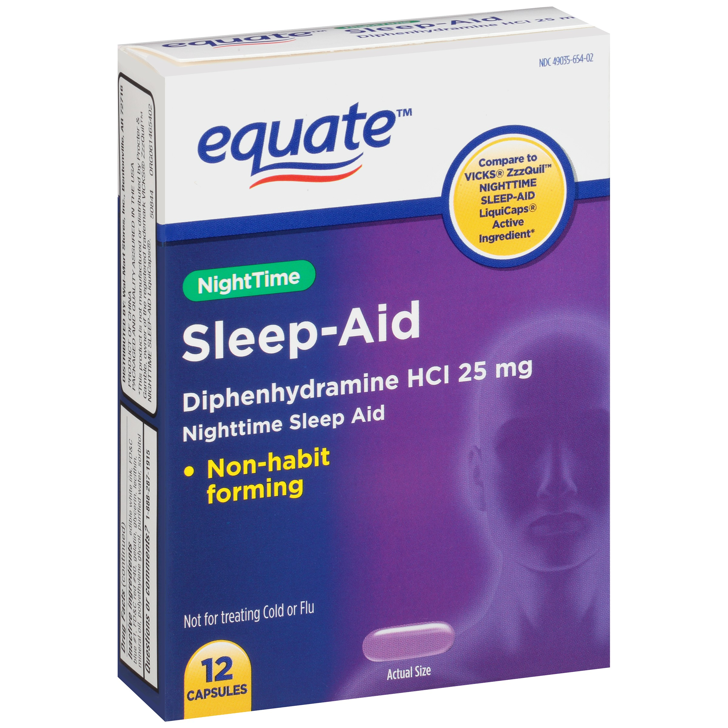 Equate NightTime Sleep-Aid Diphenhydramine Capsules, 25 mg, 12 Ct