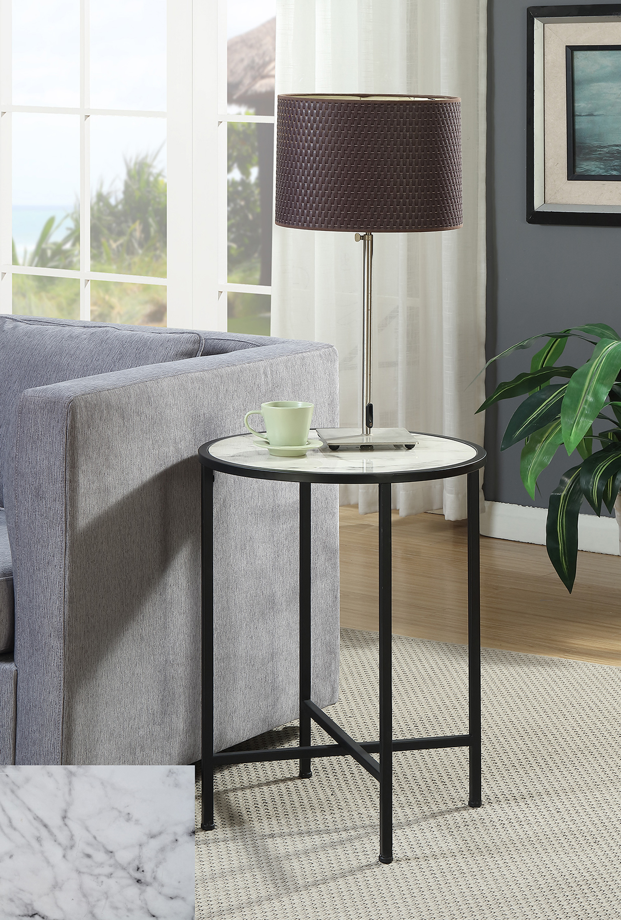 Convenience Concepts Gold Coast Faux Marble Round End Table by Convenience Concepts
