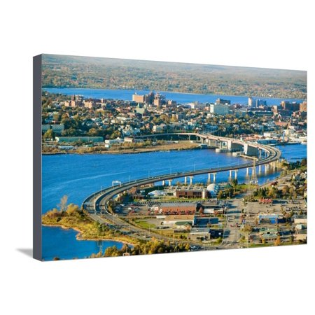 Aerial of downtown Portland, Maine showing Maine Medical Center, Commercial  street, Old Port, Ba    Stretched Canvas Print Wall Art