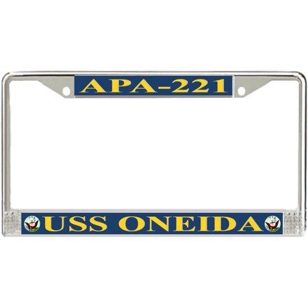 USS Oneida APA-221 License Plate Frame - American Made - Veteran Approved! ()