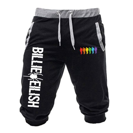 KABOER Men's Billie Eilish Graphic Sweatpants Fans Calf-Length Pants Cropped Trousers