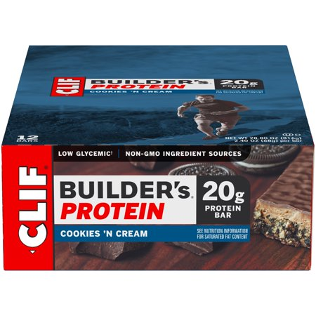 Muscle Builder Milkshake (Clif Builder's Protein Bar, Cookies 'N Cream, 20g Protein, 12 Ct )