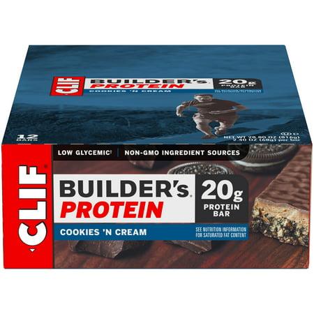Builders Bar - Clif Builder's Protein Bar, Cookies 'N Cream, 20g Protein, 12 Ct