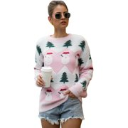 Women Long Sleeve Christmas Snowman Tree Knitted Sweater Pullover Jumper Tops Ladies Crew Neck Casual Knitwear Top