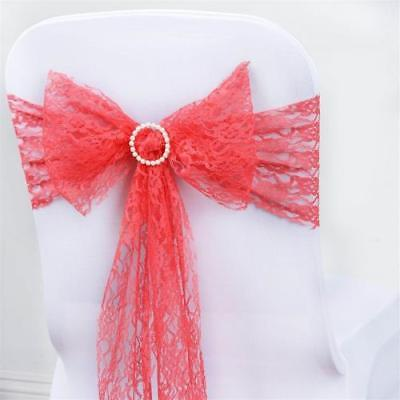 "5 PCS Coral LACE Chair Sashes Tie Bows Catering Wedding Party Decor - 6""x108"""
