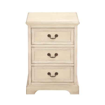 Decmode 26 X 17 Inch Farmhouse Three-Drawer Wooden Chest, Ivory ()