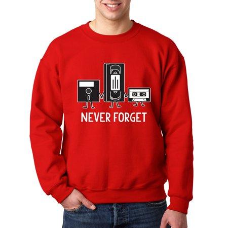New Way 467 - Crewneck Floppy Disk VHS Tape Cassette Player Never Forget Sweatshirt