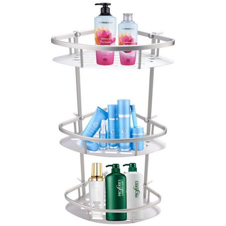 mainstays 3 shelf alumimum triangle bathroom corner shelf space saver btc. Black Bedroom Furniture Sets. Home Design Ideas