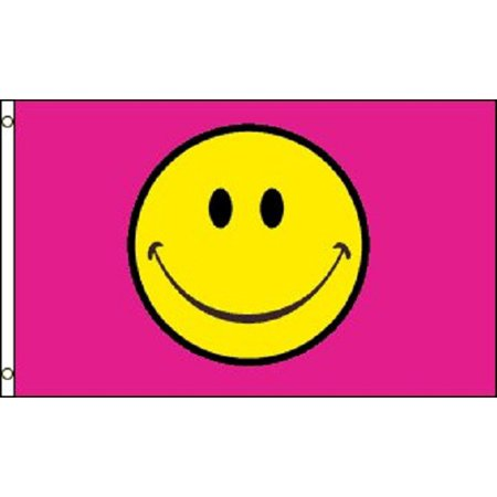 Happy Face Pink Flag Smiley Face Party Banner Event Pennant 3x5](Smiley Face Decorations)