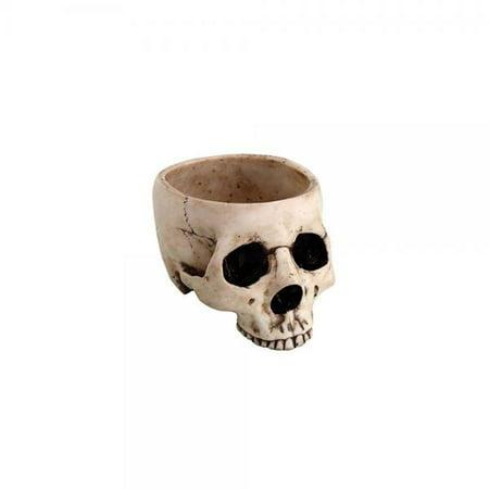 6.75 Inch Ceramic Open Skeleton Skull Figurine Medium Bowl, Beige](Ceramic Skulls)