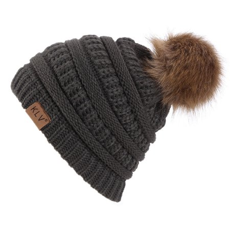 Womens Winter Slouchy Knit Beanie Hat, Warm Chunky Faux Fur Pom Poms Hat Soft Cable Knit Ski