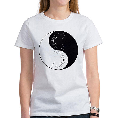 Womens Yin Yang Cats T-Shirt