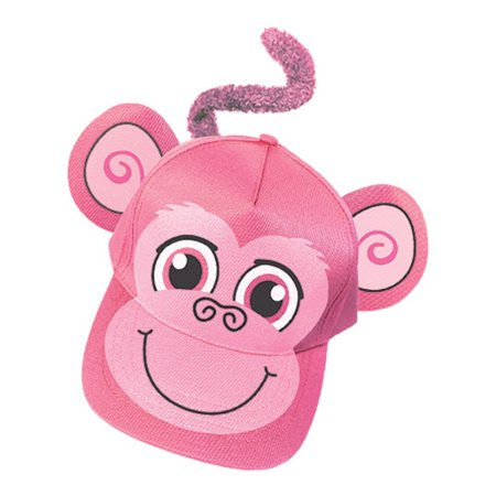 Adults Kids Adjustable Pink Monkey Animal Zoo Baseball Cap Hat Costume Accessory (Monkey Hats)