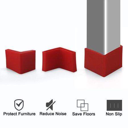 50mm x 50mm Angle Iron Foot Pad L Shaped PVC Leg Cap Floor Protector Red 8pcs - image 4 of 7