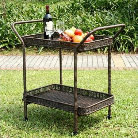 Resin Outdoor Patio Serving Cart (Jeco Wicker Patio Serving Cart in Espresso )