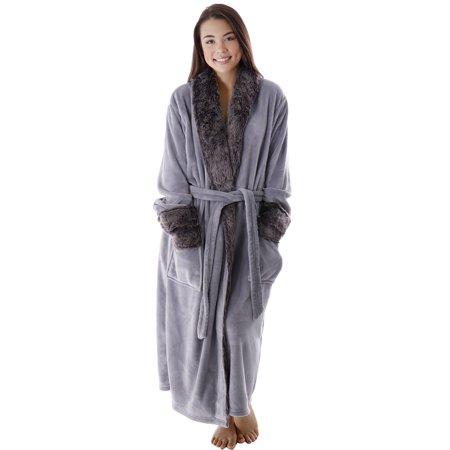 Luxury Faux Fur Trim Velvet Fleece Pocketed Bathrobe Robe, Silver Grey (Lined Velvet Robe)