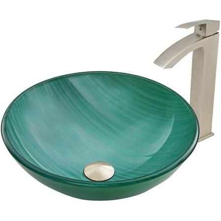 VIGO Whispering Wind Glass Vessel Sink and Duris Faucet Set, Brushed Nickel ()