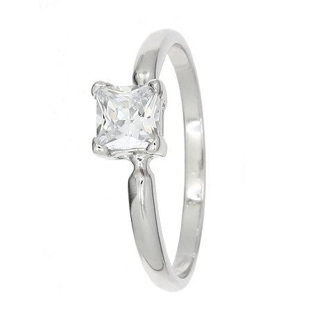 Sterling Silver Cubic Zirconia Princess Cut Birth Stone April Birthday Children's Ring (Size 3) Clear Princess Cocktail Ring