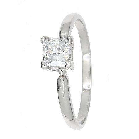 - Sterling Silver Cubic Zirconia Princess Cut Birth Stone April Birthday Children's Ring (Size 3)