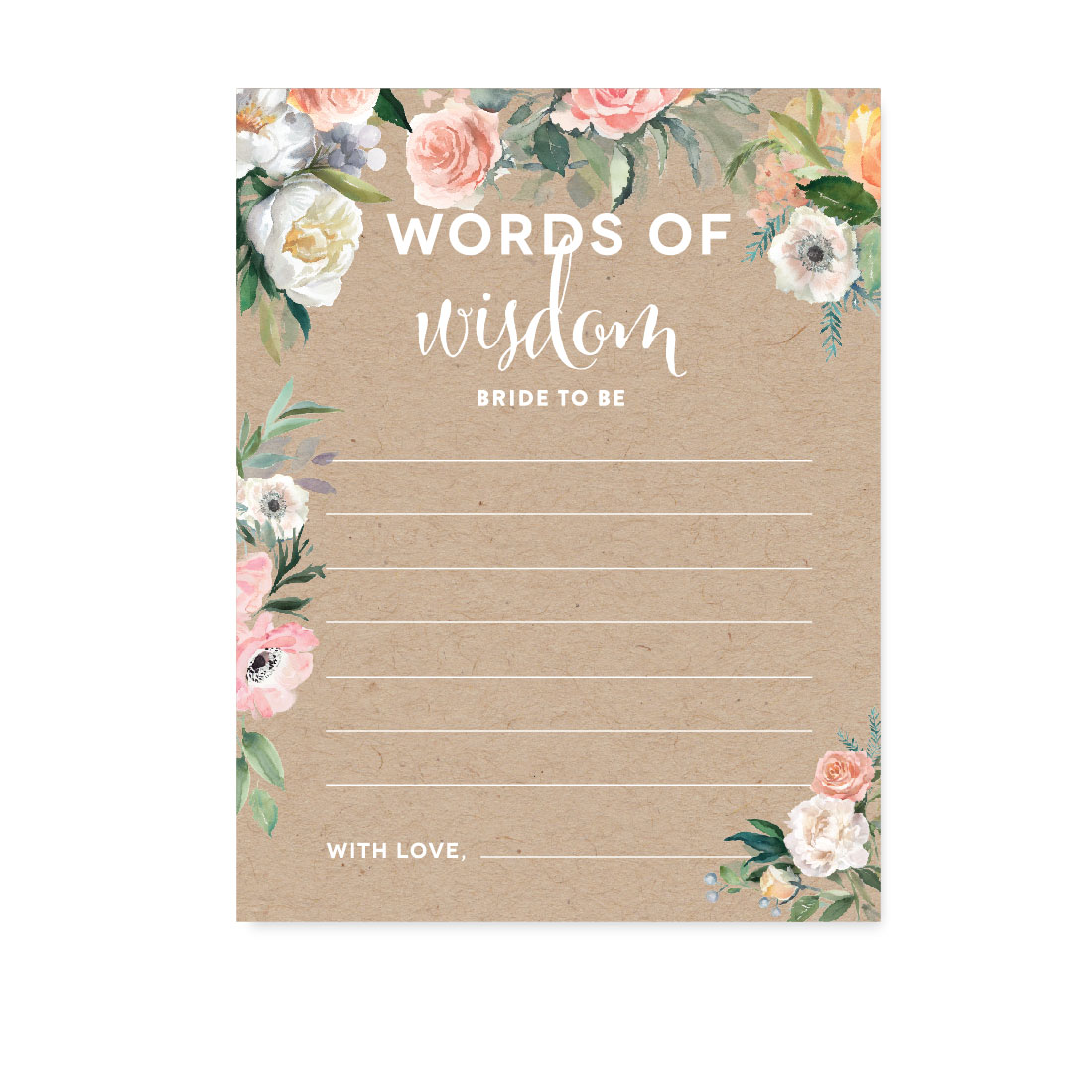 Peach Coral Kraft Brown Rustic Floral Garden Party Wedding, Blank Words of Wisdom Bridal Shower Cards, 20-Pack