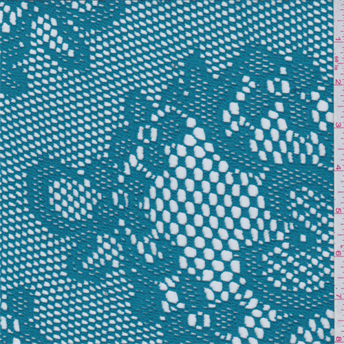 Teal Blue Crochet Lace, Fabric Sold By the Yard