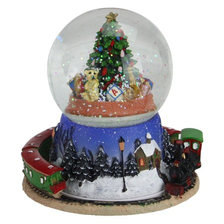 Northlight Christmas Tree and Train Revolving Musical Snow - Make Your Own Snow Globe