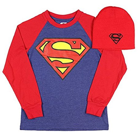 Superman Boys Shirt and Beanie Hat Combo Man Of Steel (Large)](Superman Beanie)