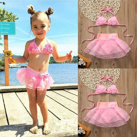 Pink Bathing Suit - 2017 Kids Baby Girls Pink Bikini Suit Set Swimsuit Swimwear Bathing Swimming Clothes