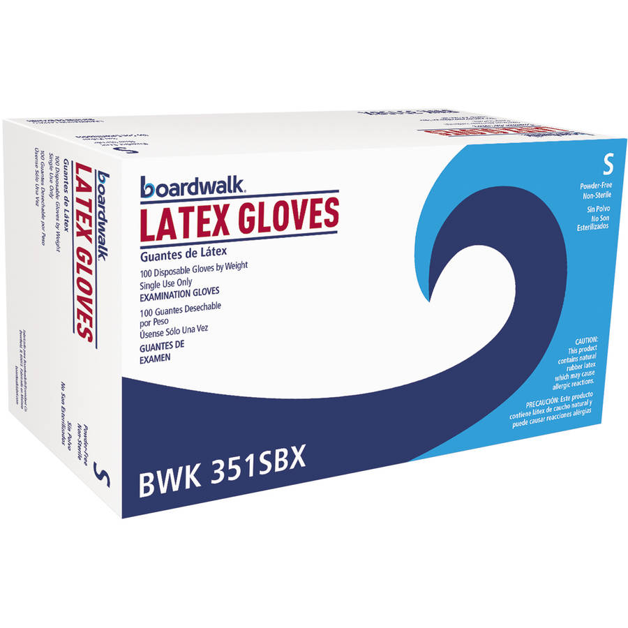 Boardwalk Latex Exam Gloves, Small, Natural, 100 count, (Pack of 10)