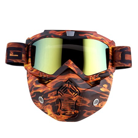 Motorcycle Goggles Mask, Detachable for Motocross Helmet Goggles use, Tactical Airsoft Goggles Mask: Orange Flame with Tinted Lens ()
