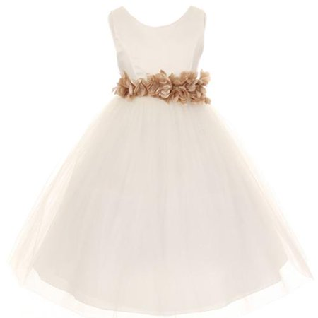 Girls Ivory Champagne Petal Sash Flower Girl Dress 14