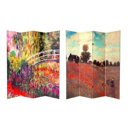 - Reversible 70.88 in. Tall Monet Canvas Folding Screen - 4 Panels