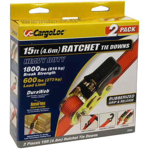 1-Inch x 15-Feet CargoLoc Ratchet Tie Downs 1500-Pound 4-Piece Allied International 84059