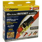 CargoLoc Ratchet Tie Downs, 15', 2 Pack