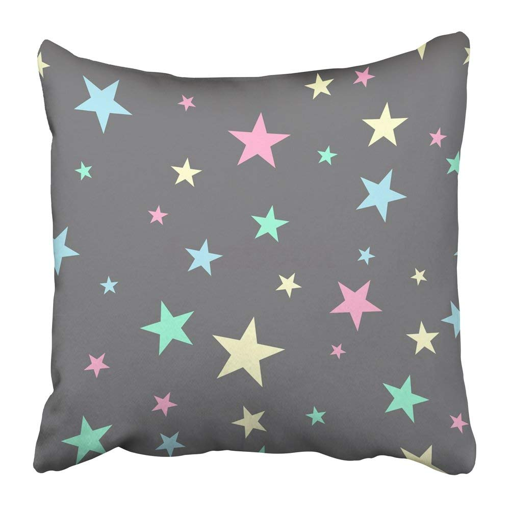 BPBOP Colorful Sky Cute with Stars White Abstract Baby Bright Cartoon Celebration Child Christmas Pillowcase Pillow Cover 16x16 inches
