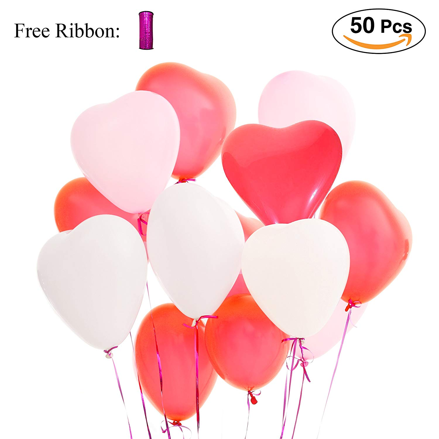LAttLiv Valentines Day Balloons 50 Packs Heart Balloons 12 inch Latex Balloons for Wedding Decoration Birthday Decoration or Anniversary Decoration - Pink/White/Red